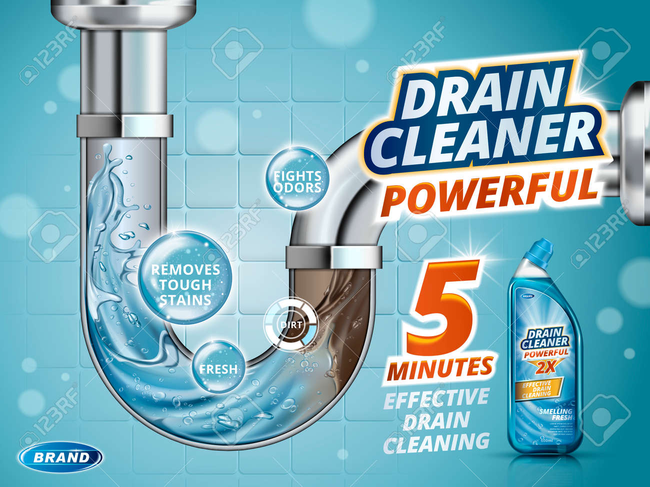 Drain cleaner ads, before and after effect in drain pipe, realistic detergent bottle isolated on blue background in 3d illustration - 71507873