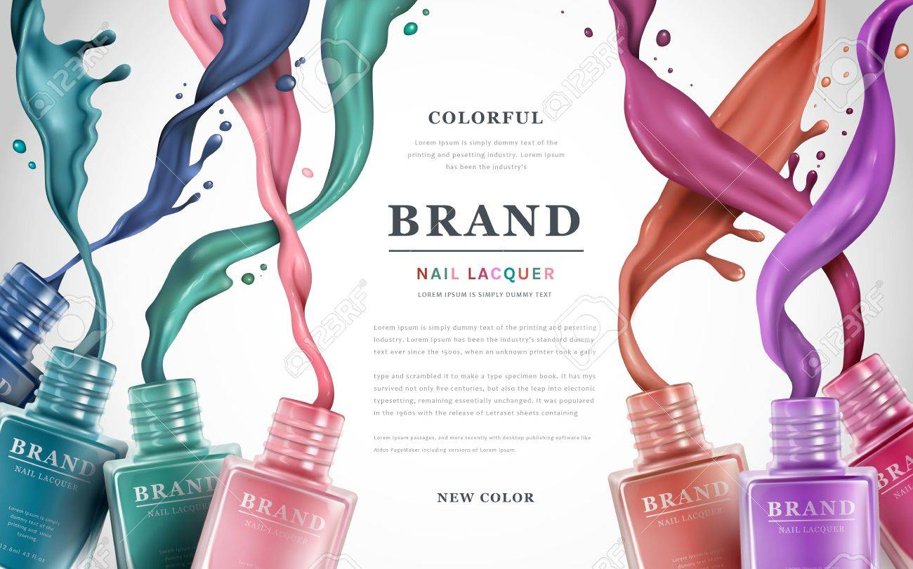 Colorful Nail Lacquer Ads Polish Splatter On White Background 3d Illustration Vogue
