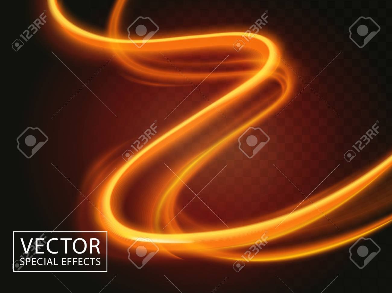 two bright light streaks, special effect 3d illustration