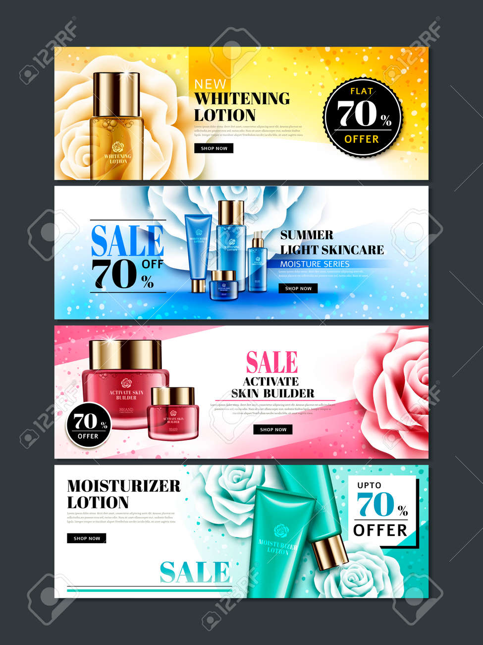 Four Different Colored Cosmetic Themed Web Banner Designs With Royalty Free Cliparts Vectors And Stock Illustration Image 81066260