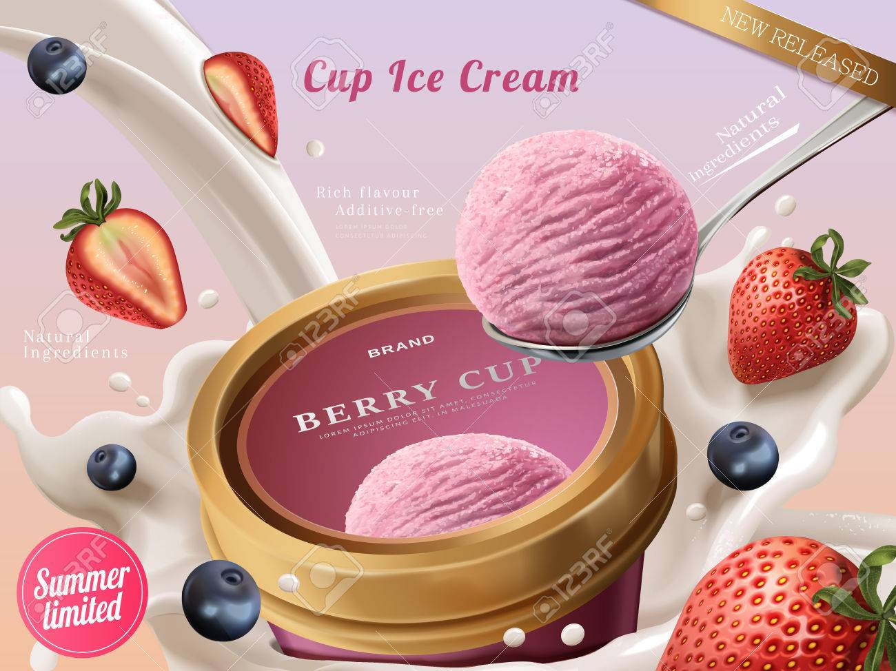 Berry ice cream cup ads, a scoop of premium strawberry ice cream with flowing milk and fruits in 3d illustration - 82761881