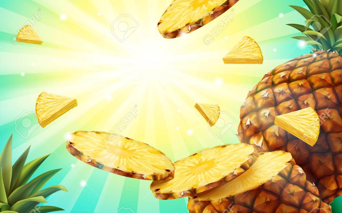 82761973 pineapple background design summer style fruit wallpaper in 3d illustration flying pineapple flesh a