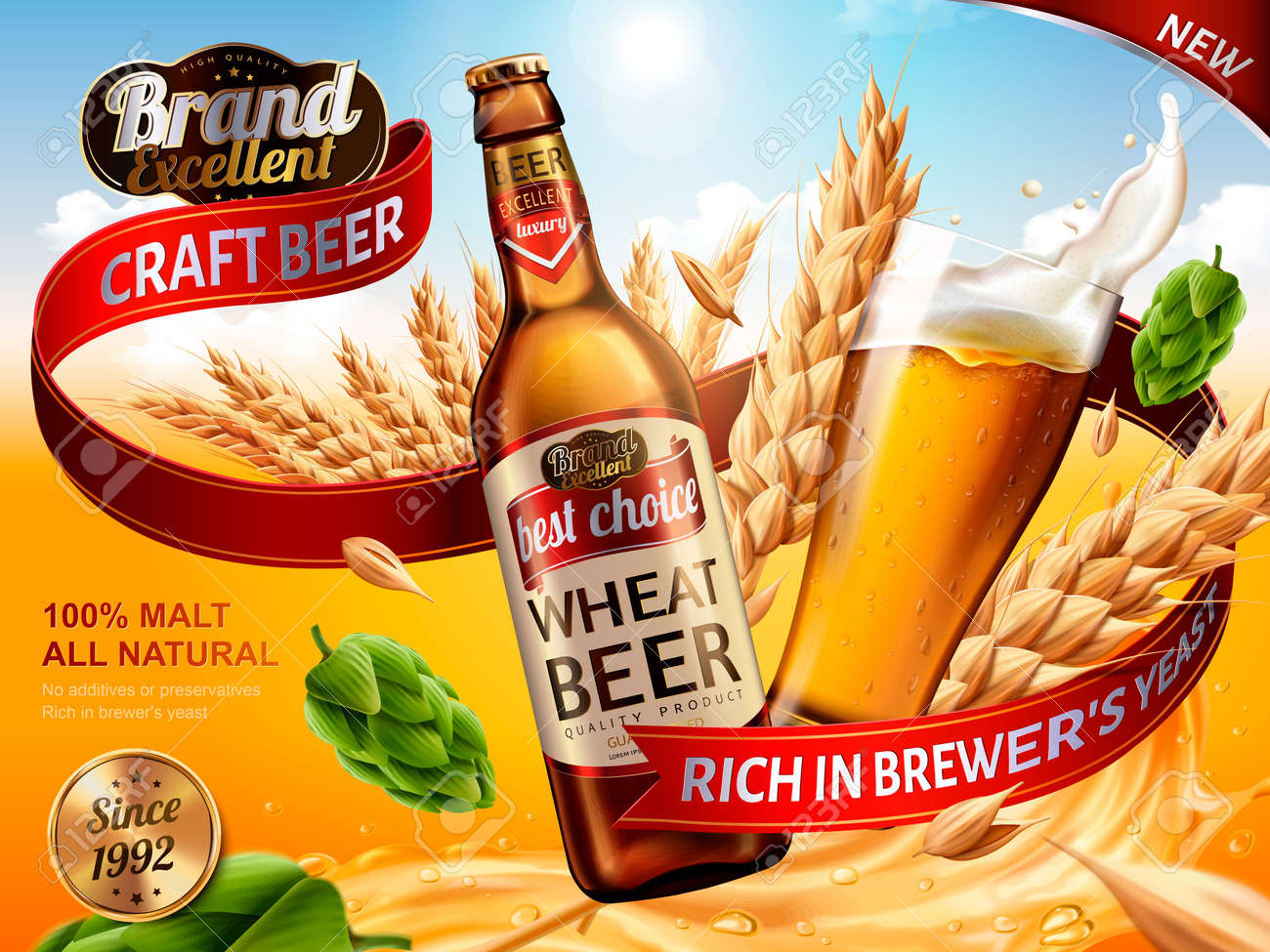 Wheat beer ads, beer bottle and glass with splashing beer and ingredients in the air, 3d illustration - 83532545