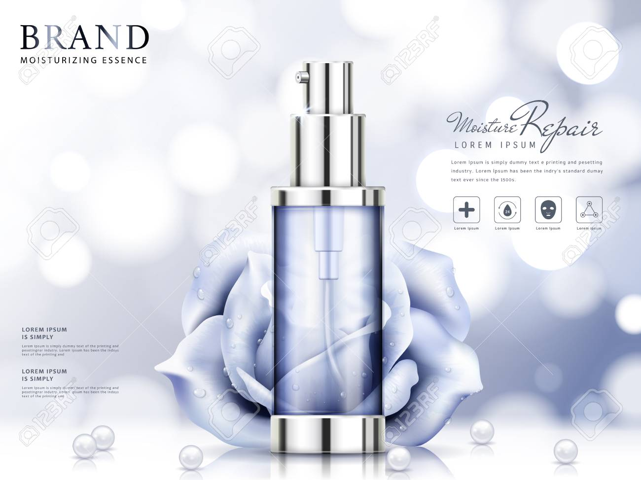 Moisture essence ads, light purple cosmetic skincare product with roses and pearls isolated on bokeh background in 3d illustration - 88034508