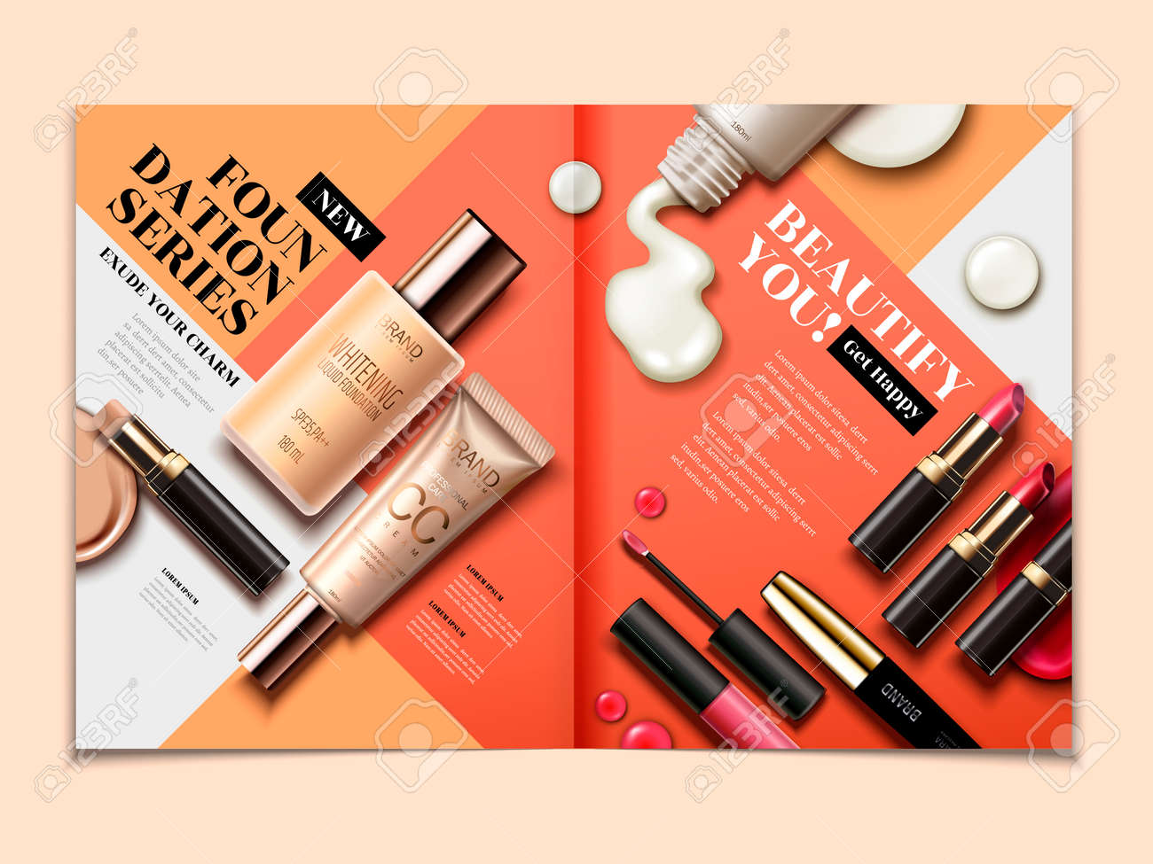 Cosmetic magazine template, top view of lipsticks and foundations isolated on orange tone geometric background in 3d illustration - 89410581