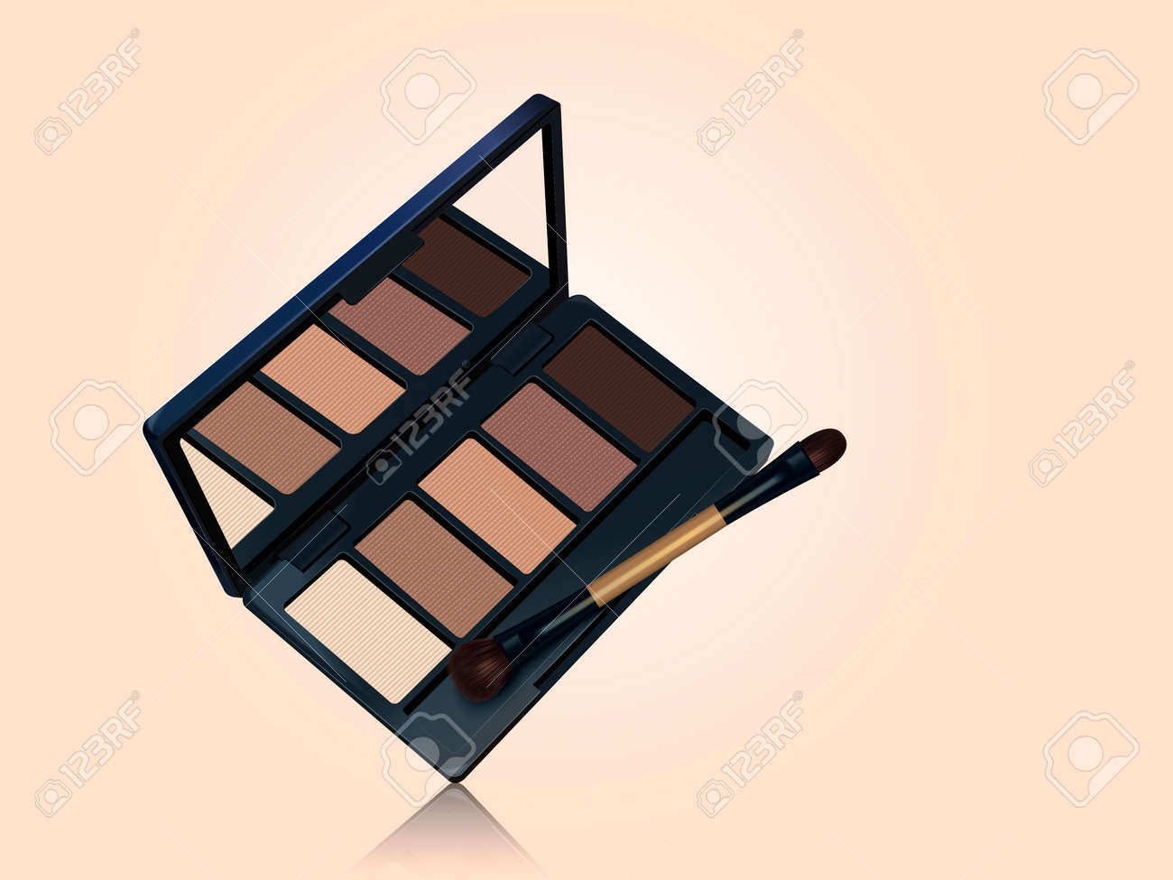 Eye shadow palette mockup, brown color tone makeup tools isolated on complexion background in 3d