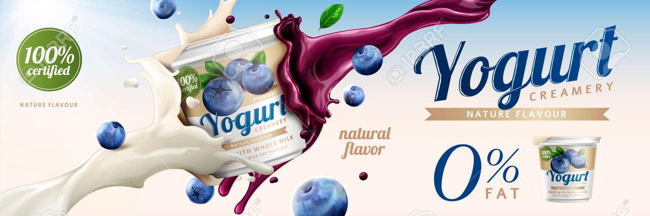 Blueberry yogurt ads, delicious yogurt commercial with milk and fruit jam splashing together in 3d illustration - 96697269