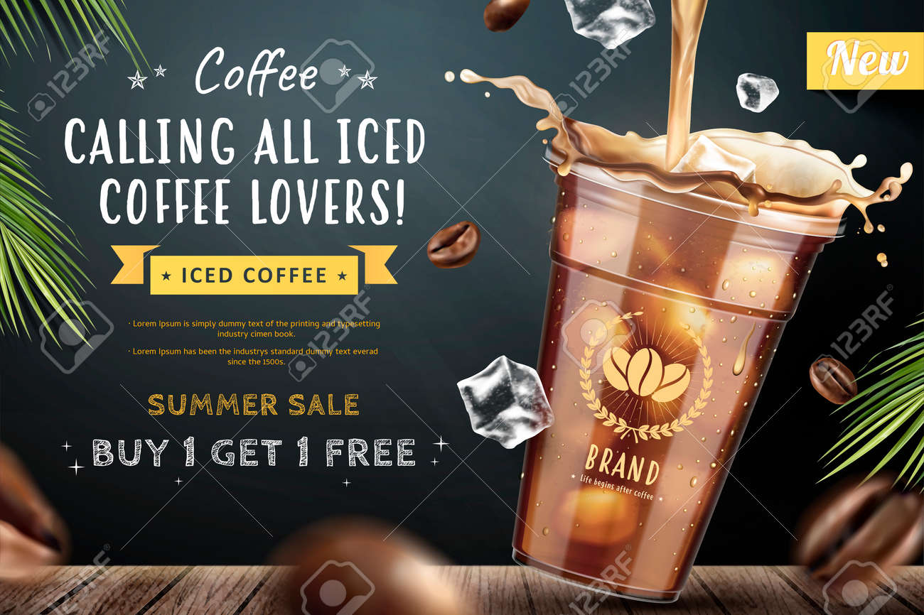 Iced coffee pouring down into a takeaway cup on blackboard background with flying coffee beans in 3d illustration - 101025817