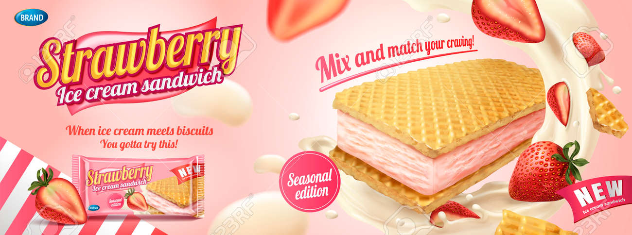 Strawberry ice cream sandwich with wafer cookies and splashing cream in 3d illustration, foil bag on light pink background - 102264660