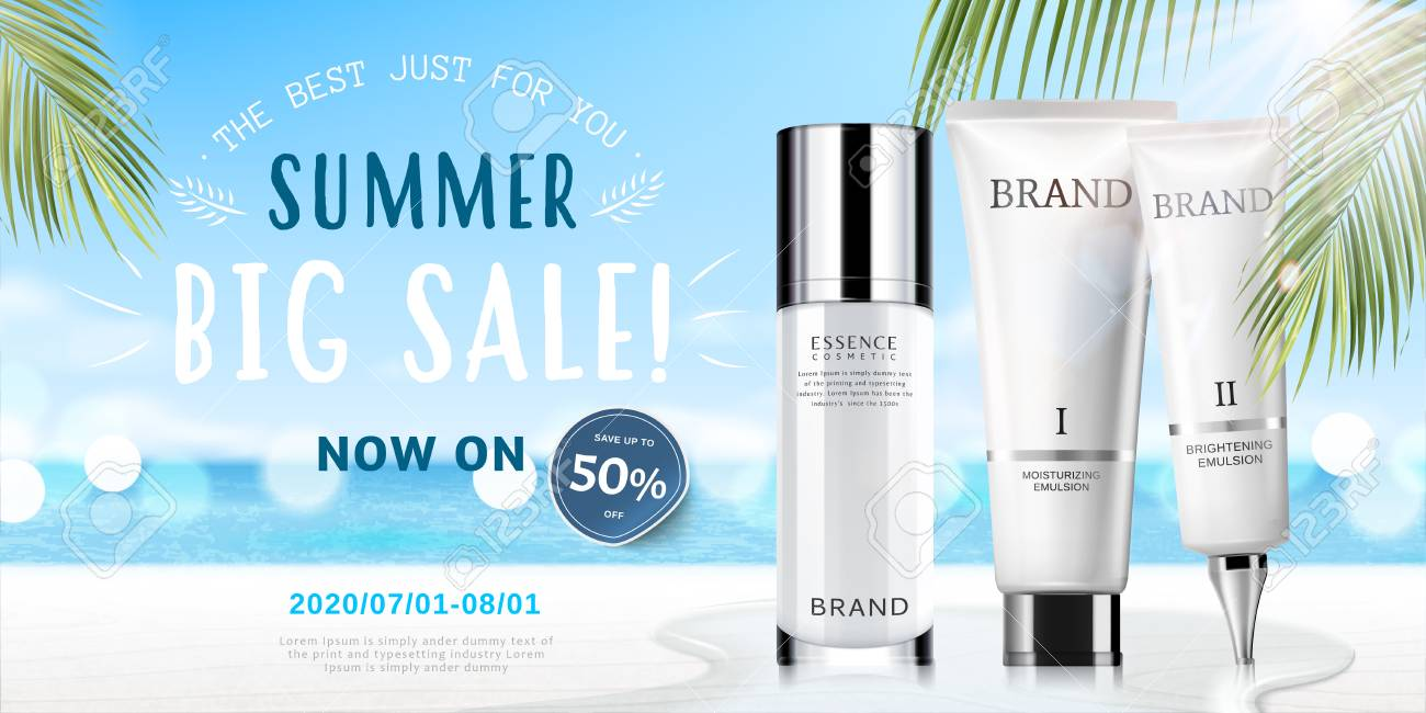 Summer cosmetic set ads with products on bokeh beach background in 3d illustration - 102264680