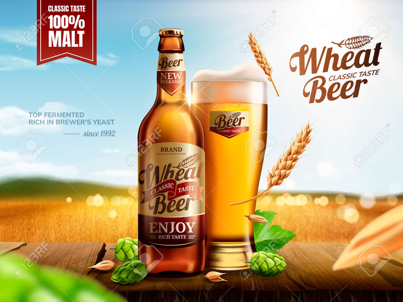 Attractive glass bottle wheat beer with hops on wooden table, bokeh golden wheat field in 3d illustration - 121824139