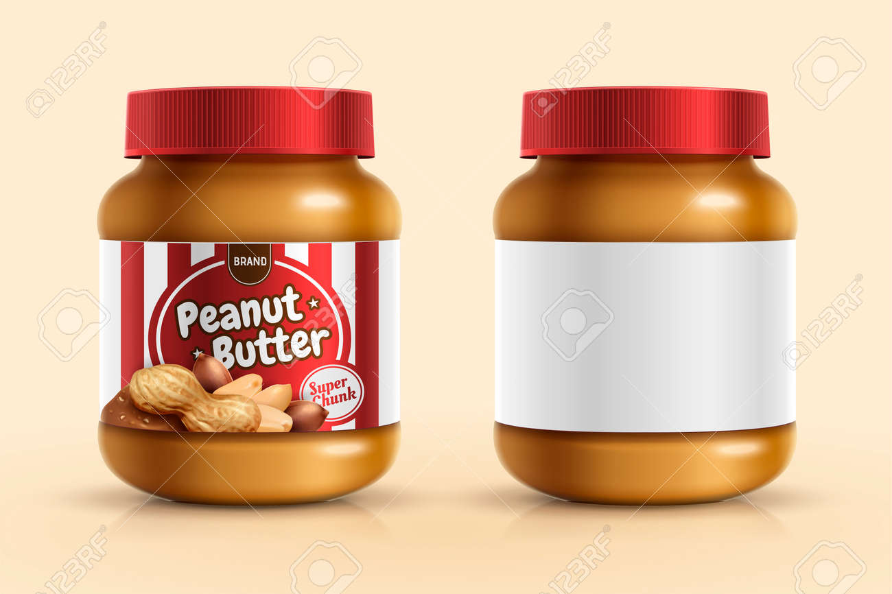 Peanut butter spread mockup template with blank label in 3d illustration - 115150838