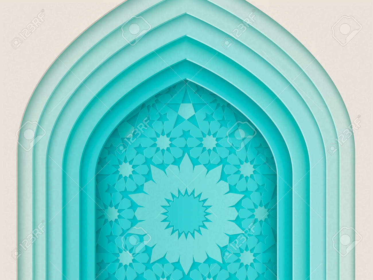 Islamic festival design with multi layers arch background in paper style, 3d illustration - 106121965