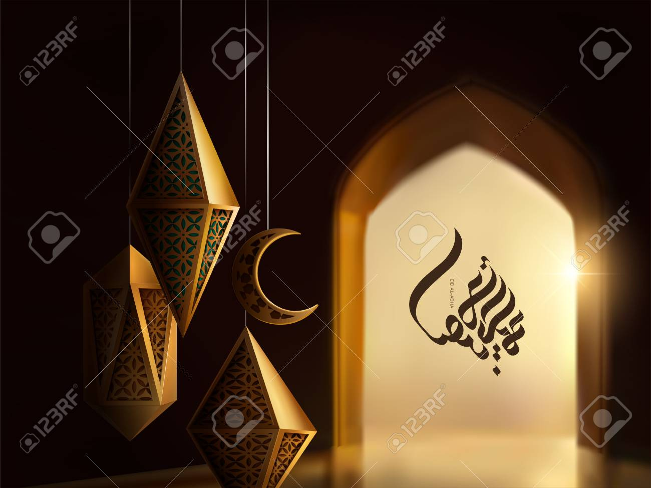 Eid Al-Adha calligraphy design with carved lanterns on bokeh arch interior background, 3d illustration - 112241737