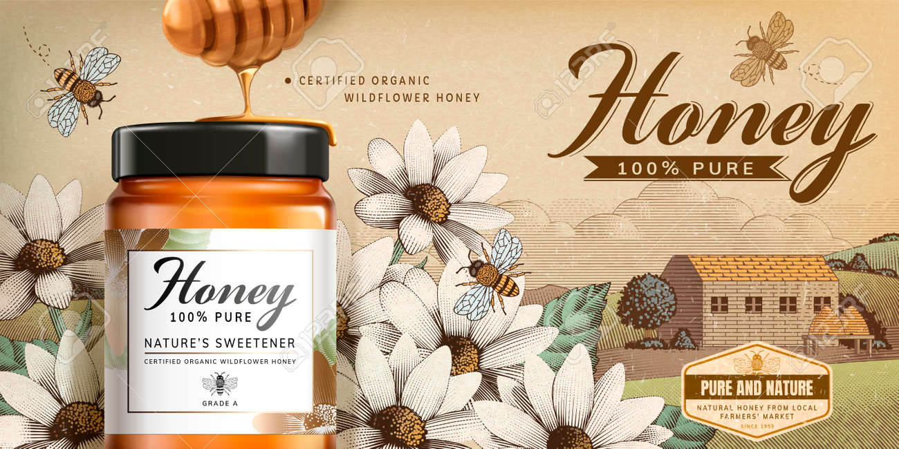 Wildflower honey product in 3d illustration on engraved country side scenery - 105809381