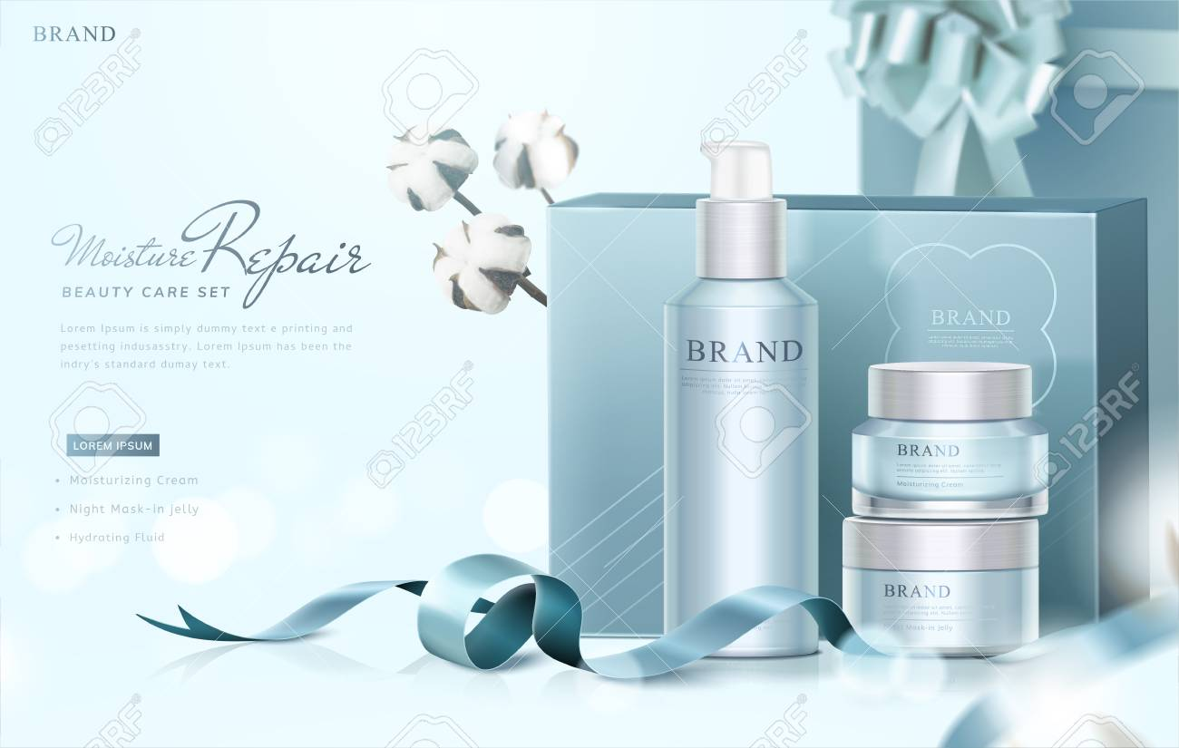 Blue skin care gift set ads with graceful wrapped boxes and cotton elements on selective focus & Blue Skin Care Gift Set Ads With Graceful Wrapped Boxes And Cotton ...