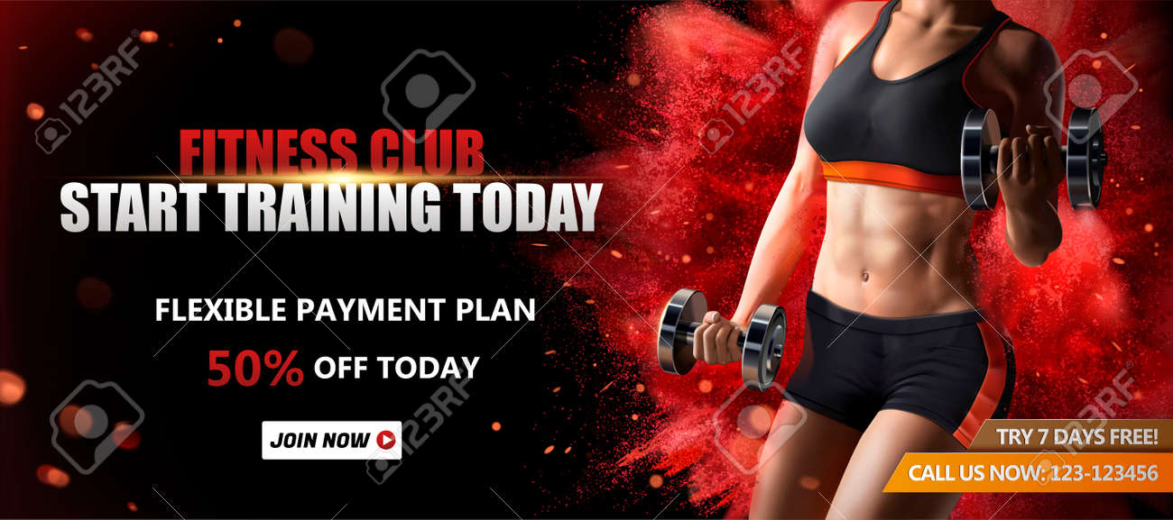 Fitness club banner ads with a healthy woman lifting weights on red exploding powder effect background, 3d illustration - 109215850