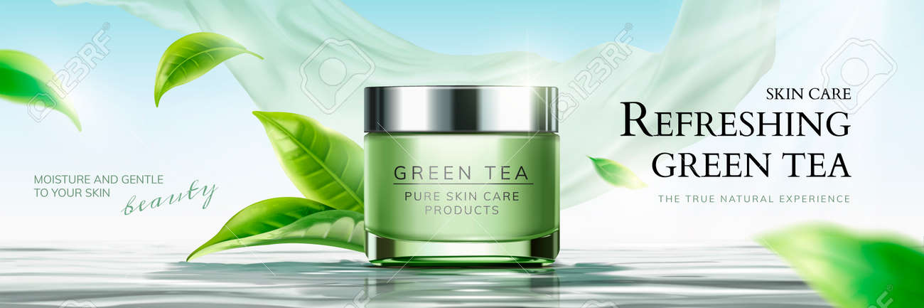 Refreshing Green Tea Skin Care Banner Ads With Flying Leaves Royalty Free Cliparts Vectors And Stock Illustration Image 110980391