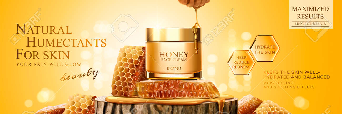Natural Honey Skin Care Banner Ads With Beehive And Cream Jar Royalty Free Cliparts Vectors And Stock Illustration Image 110686442