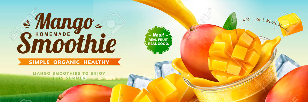 Mango smoothie banner ads with splashing beverage pouring into take out cup in 3d illustration on bokeh nature background - 110980363
