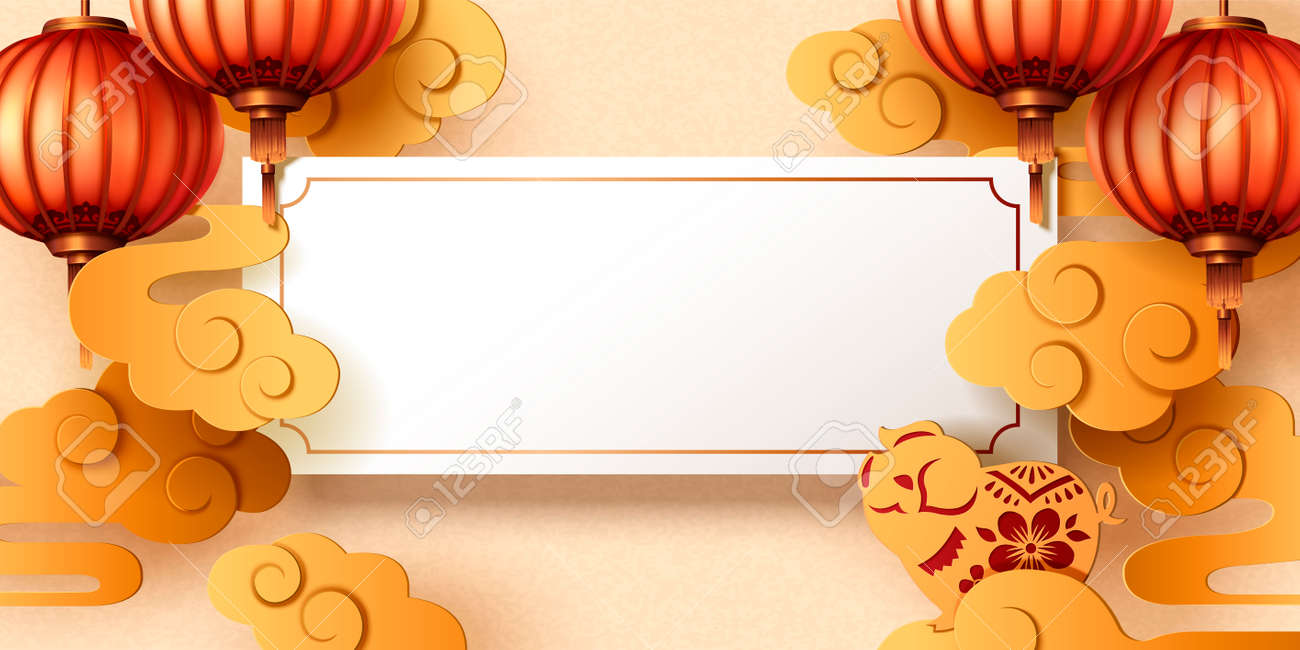 chinese new year greeting card design with blank roll lanterns and golden piggy stock vector