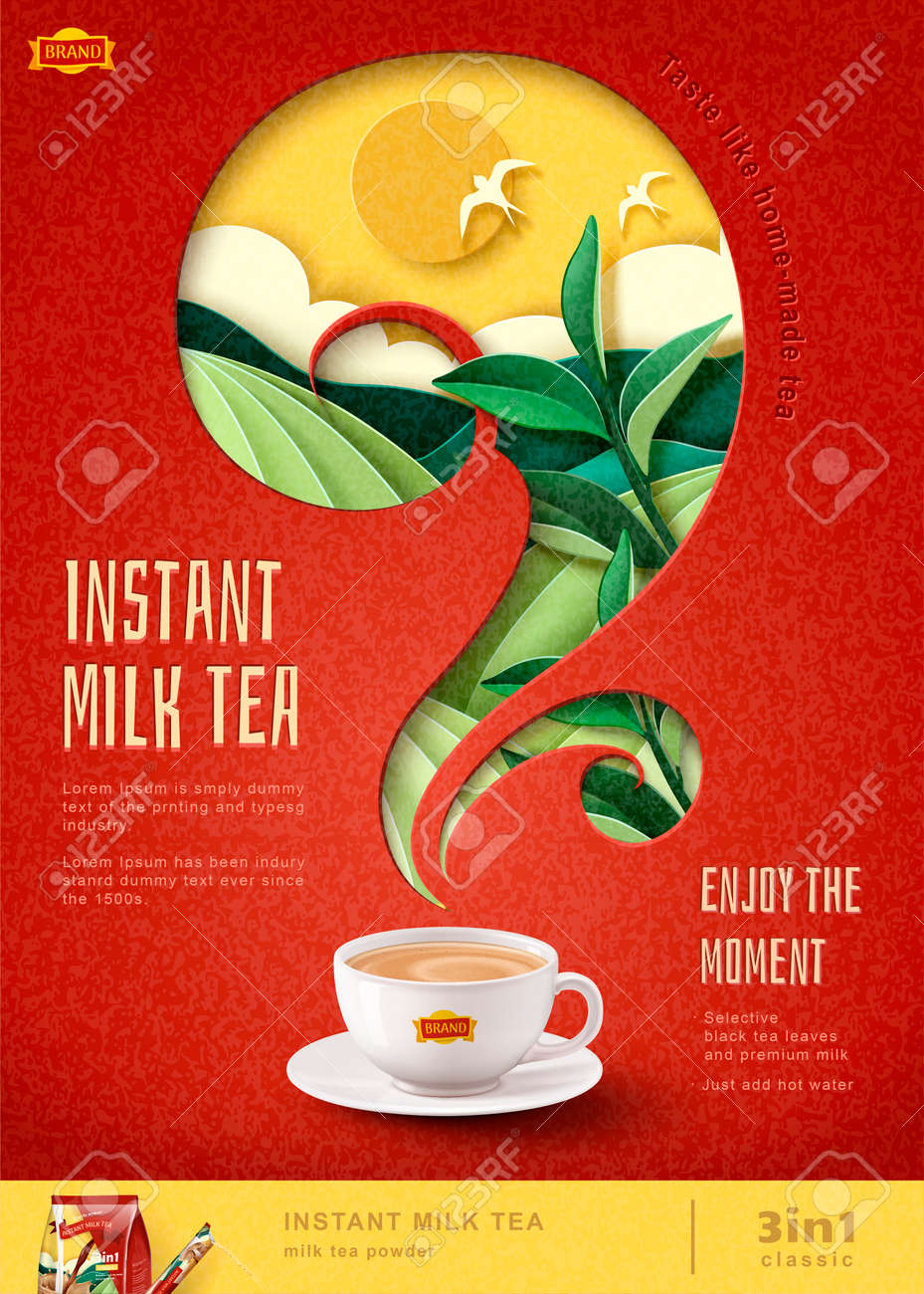 Instant milk tea poster ads with paper art terraced field background, 3d illustration - 119953439
