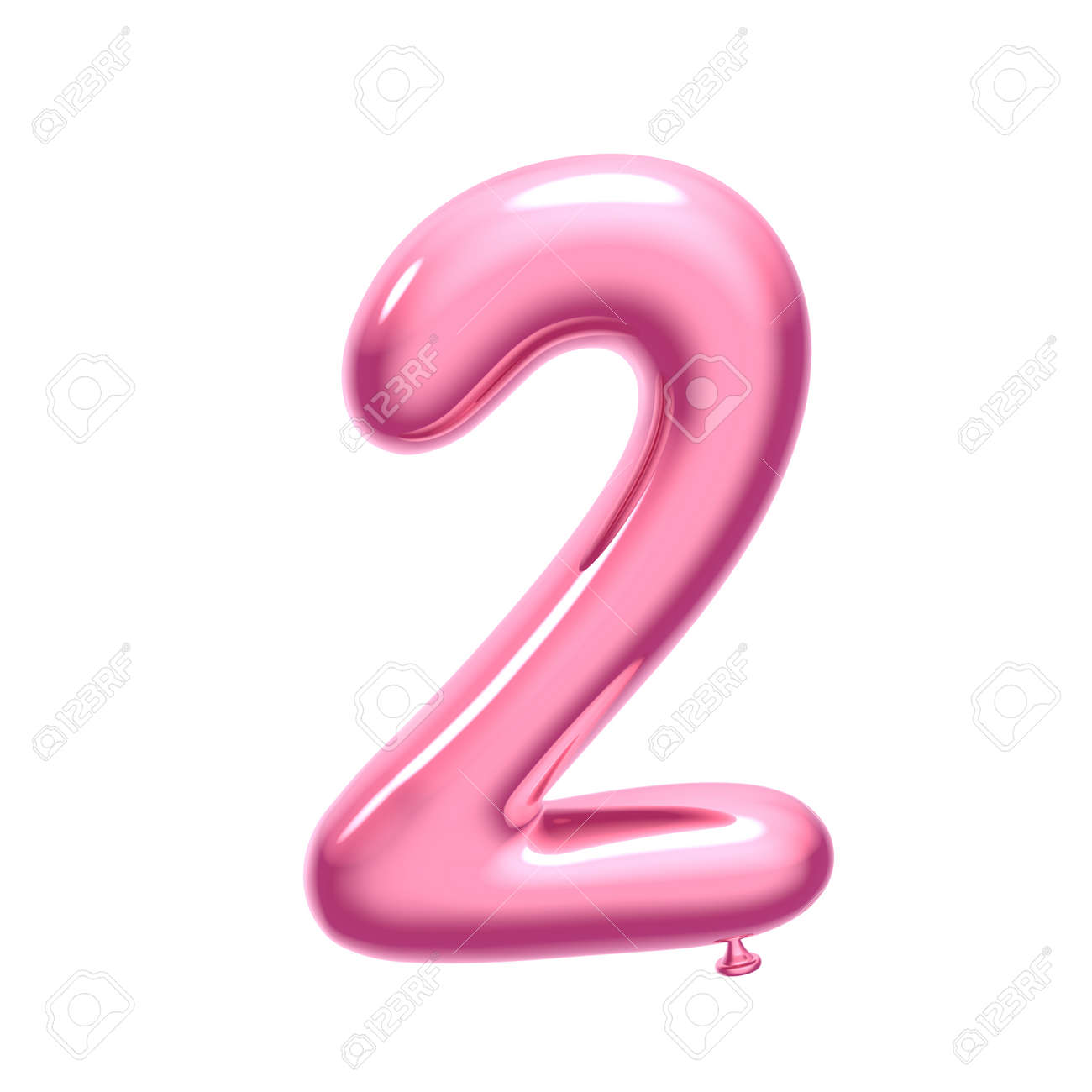 3D render pink balloon number 2 on white background - 121621073