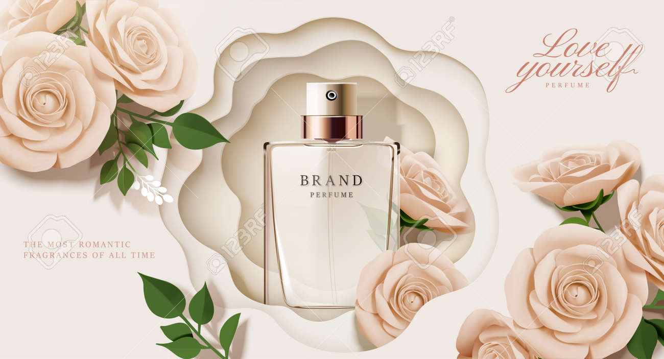 Elegant perfume ads with paper beige roses decorations in 3d illustration - 127310841