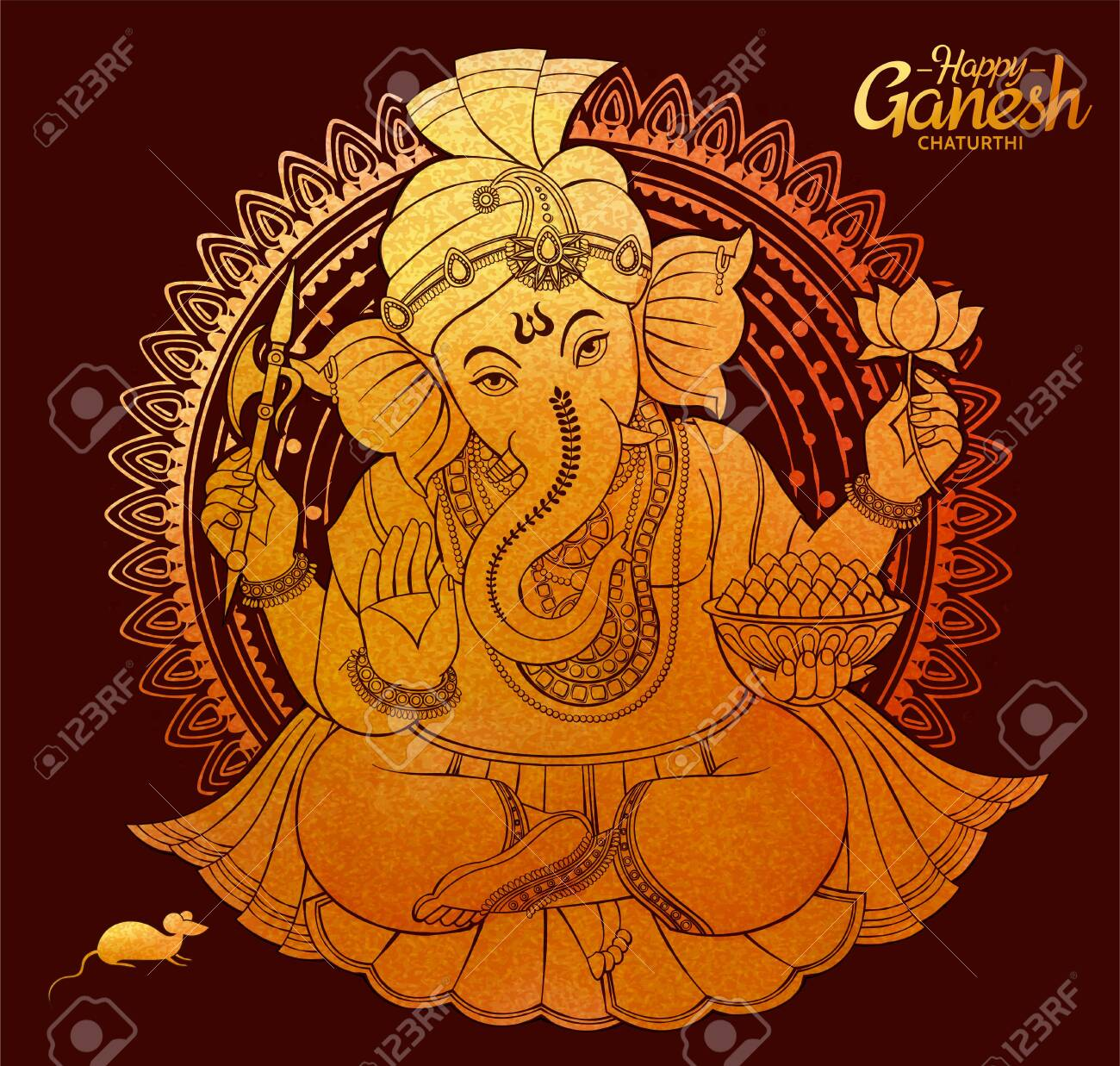 Happy Ganesh Chaturthi design in golden color - 127825065