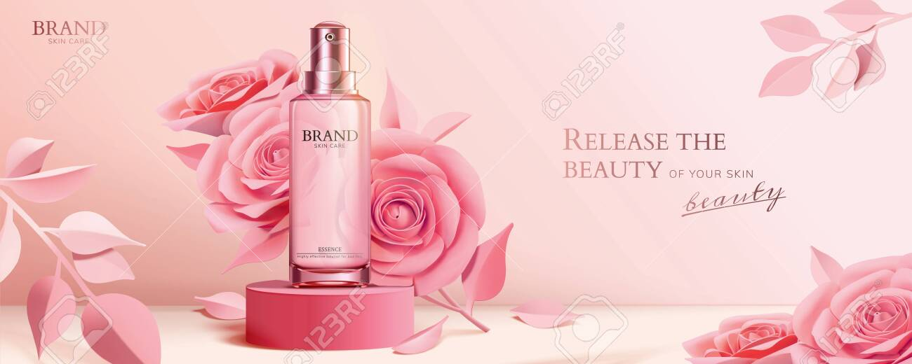 Spray bottle on round podium with elegant paper roses in pink, 3d illustration cosmetic ads - 130672448