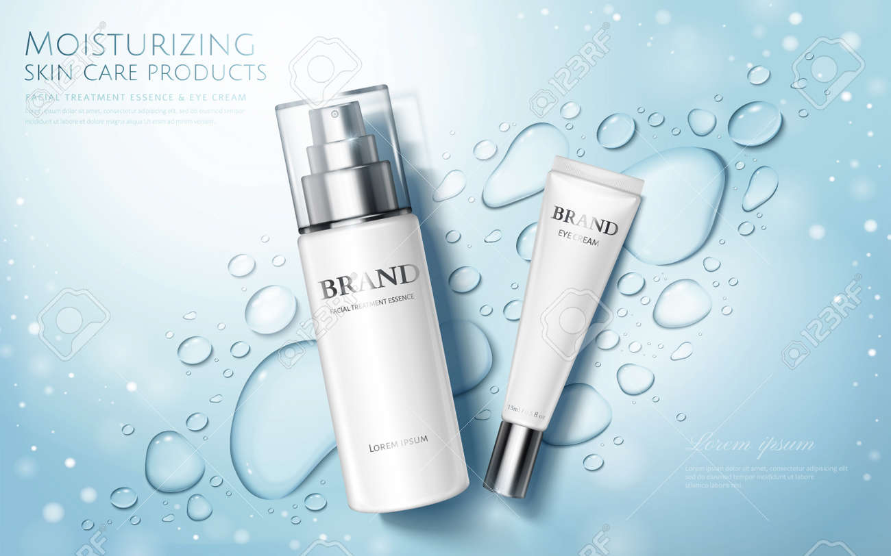 Moisture skincare product ads with watery water drops and glitter effects on blue background, flat lay - 133314759