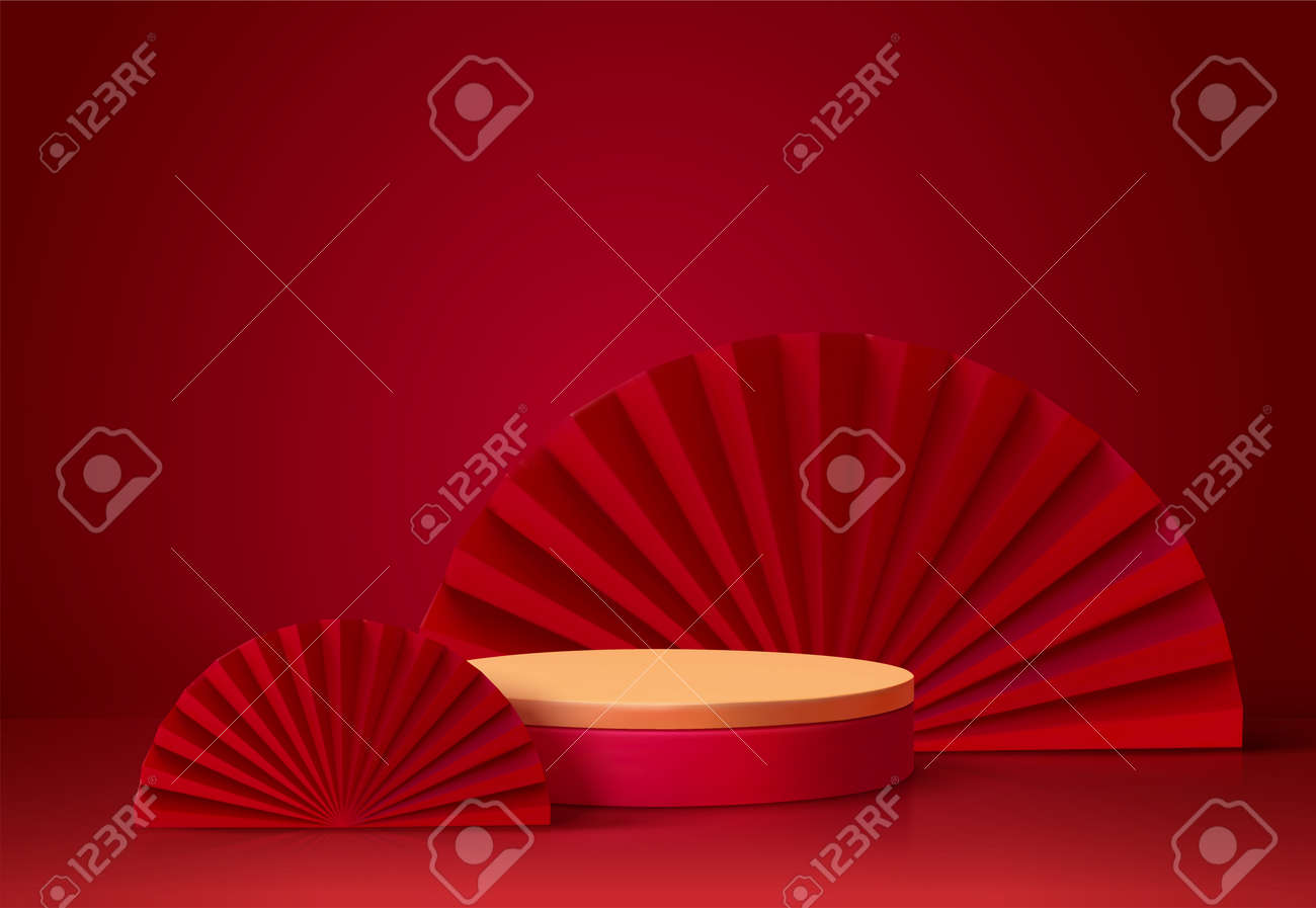 3d background template with the stage podium and red fans as the decoration, suitable for Asian products - 160210764