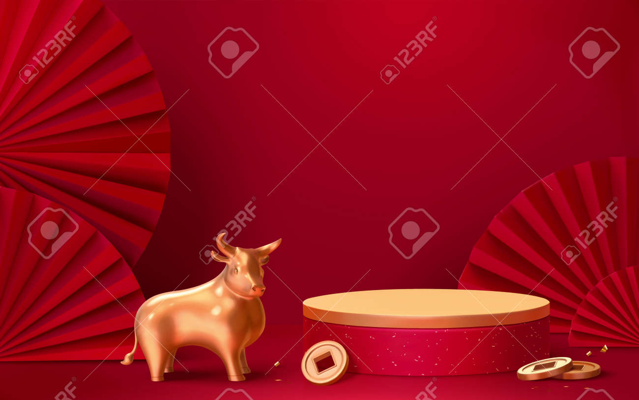 Asian theme product display podium with red wall, gold bull and Japanese paper fans, 3d illustration background - 160210765