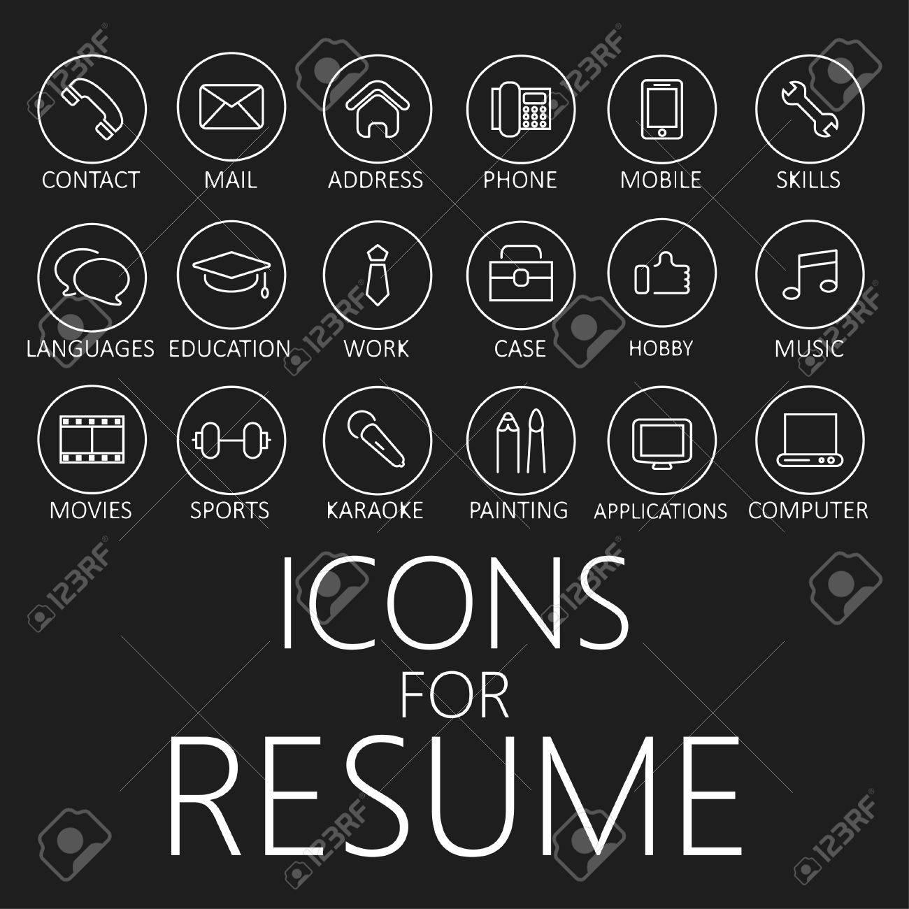 Conjunto De Iconos De Líneas Para Su Curriculum Vitae, CV, Trabajo ...