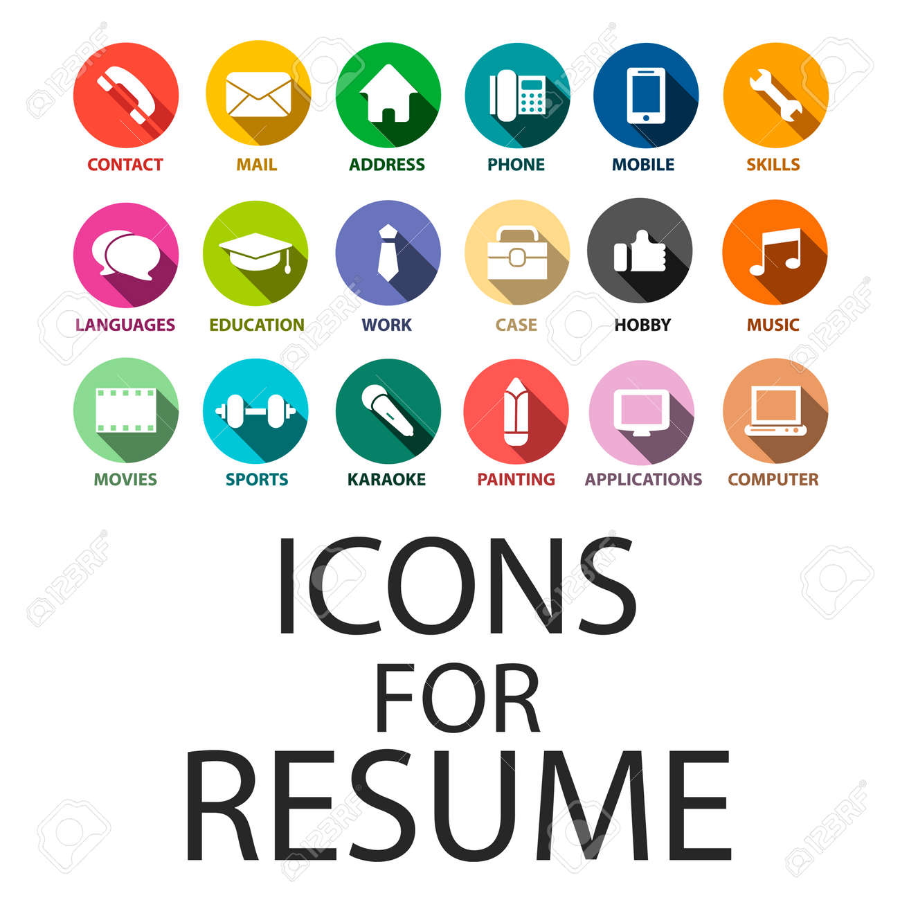 Icons Set For Your Resume, CV, Job Royalty Free Cliparts, Vectors ...