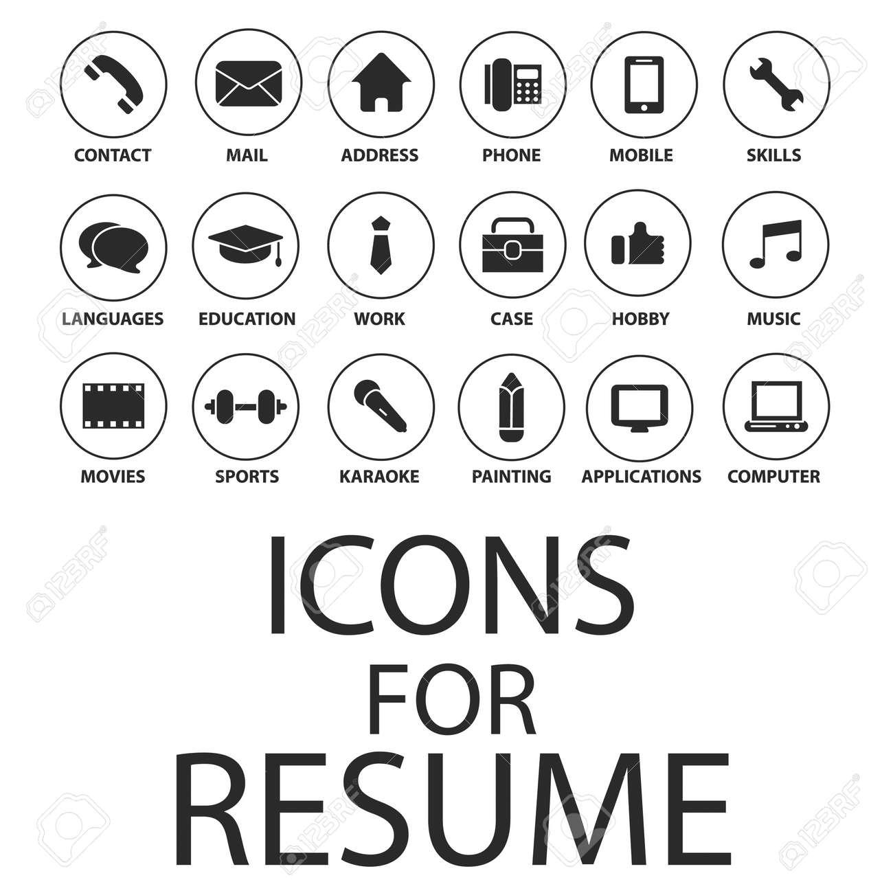 Icons Für Ihren Lebenslauf, Lebenslauf, Job Eingestellt Lizenzfrei ...