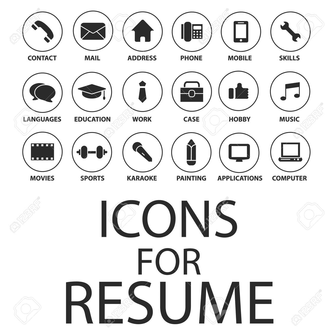 Icons Set For Your Resume, CV, Job Royalty Free Cliparts, Vectors