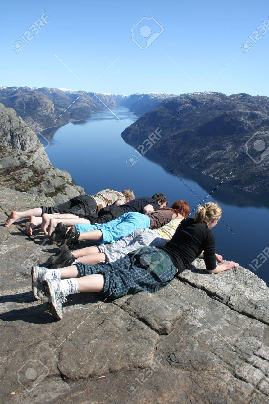 People looking down at pulpit rock Stock Photo - 2356333