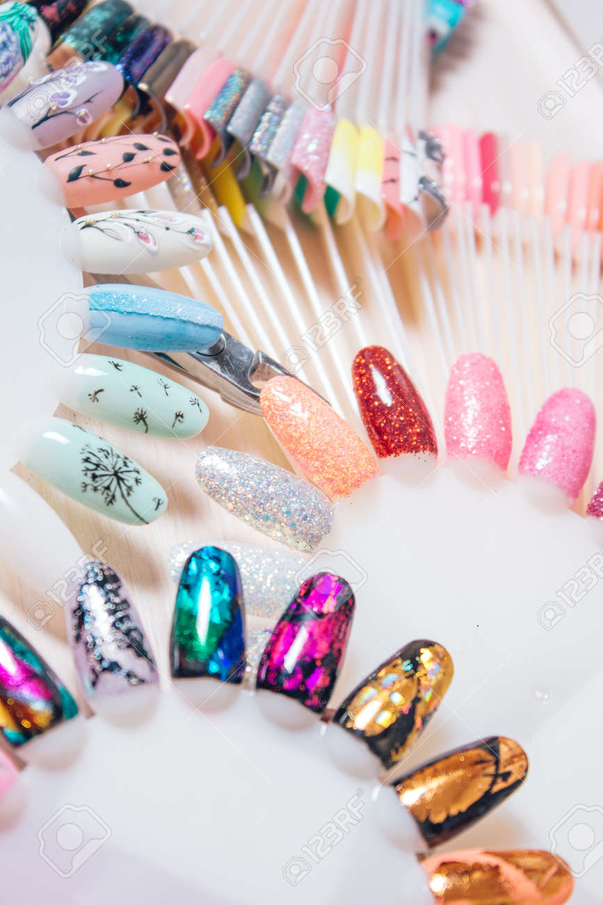 Different Colorful Nails Polish Palette For Nail Design, Set.. Stock ...
