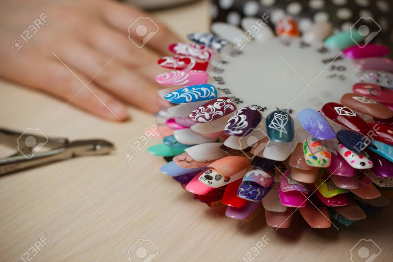 Set Of Different Nail Polish Colours On Palette Nails Art