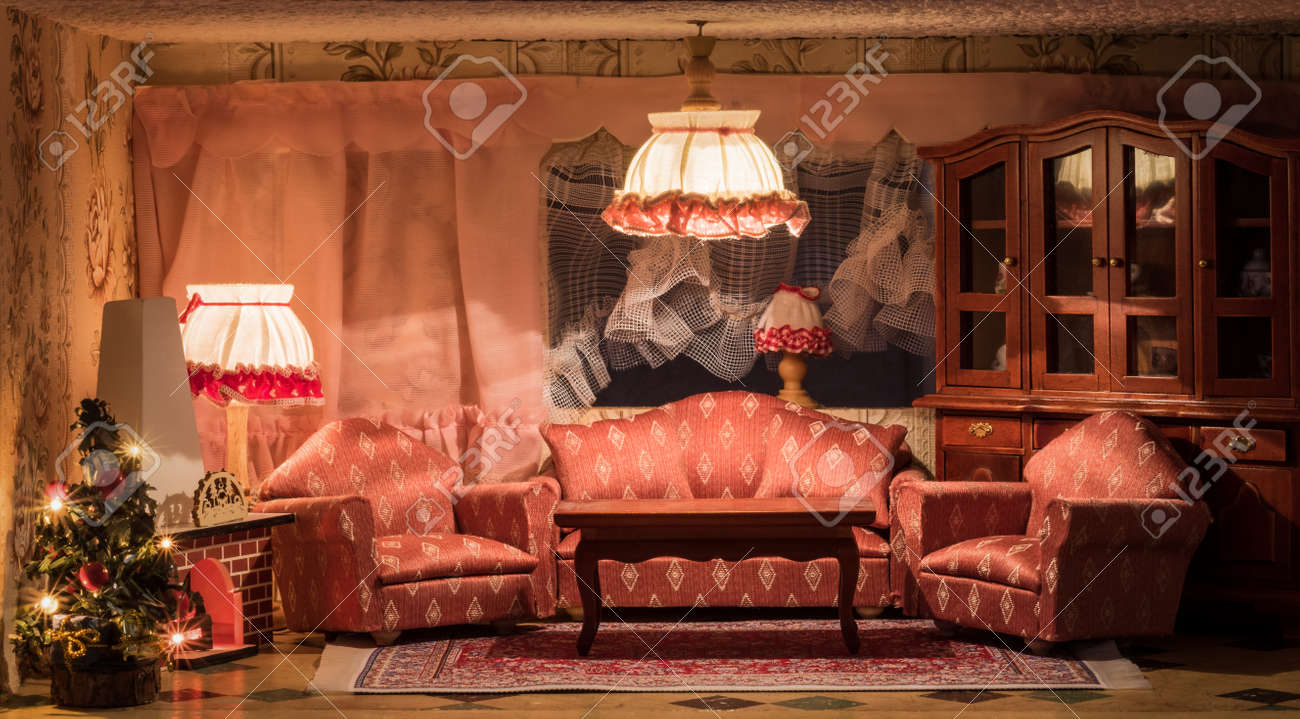 A Dollhouse Living Room At Christmas Time Stock Photo Picture