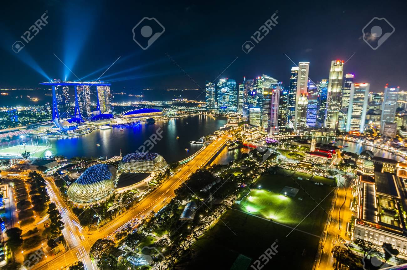 infinity pool singapore night. SINGAPORE - August 23, 2017:View From The Infinity Pool At Marina Bay Sands Singapore Night A