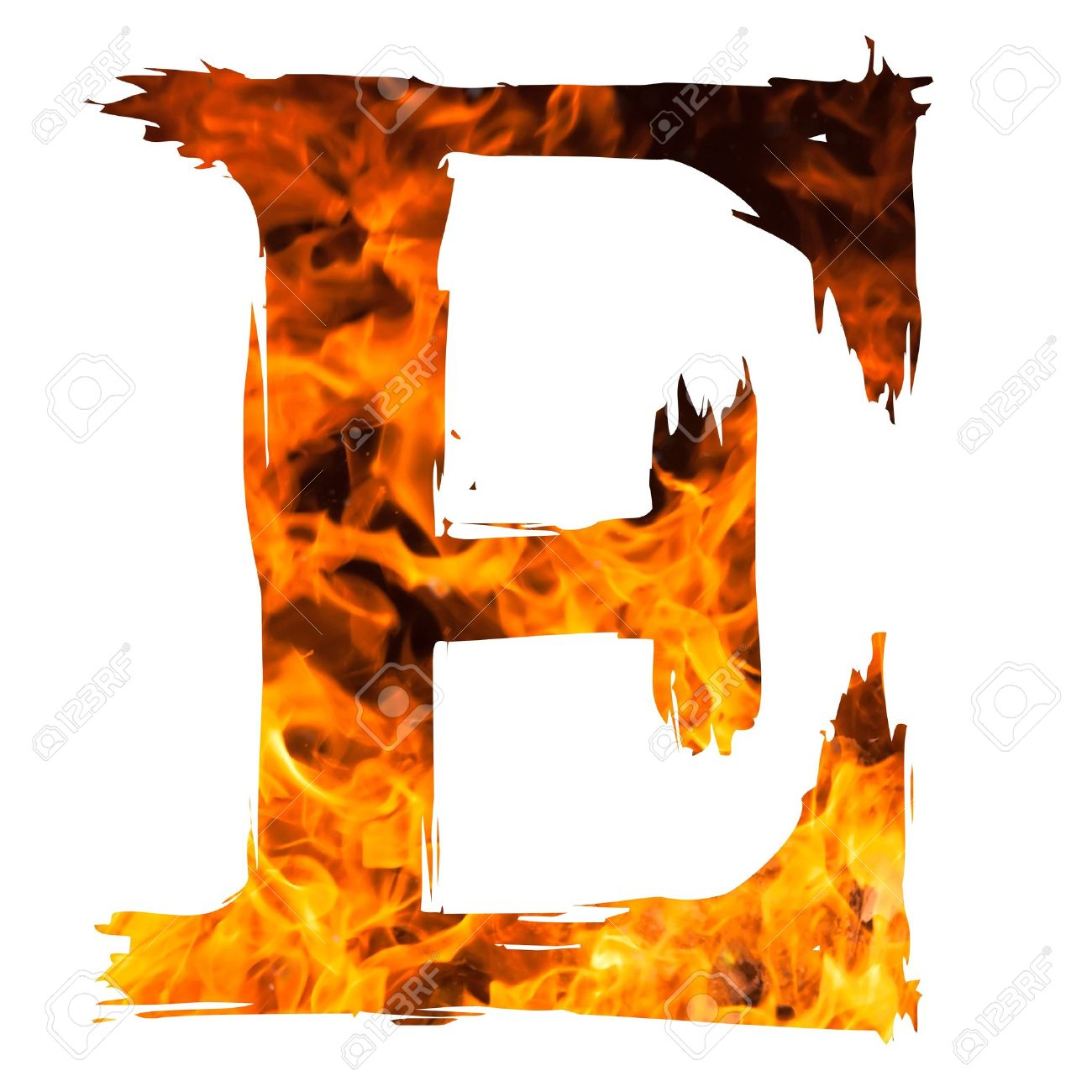 Stock photo the letter e caught on blazing fire