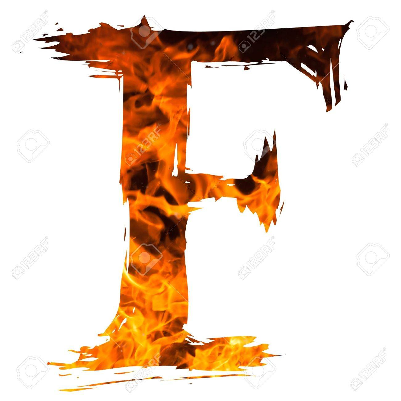 The Letter F Caught Blazing Fire Stock Picture And