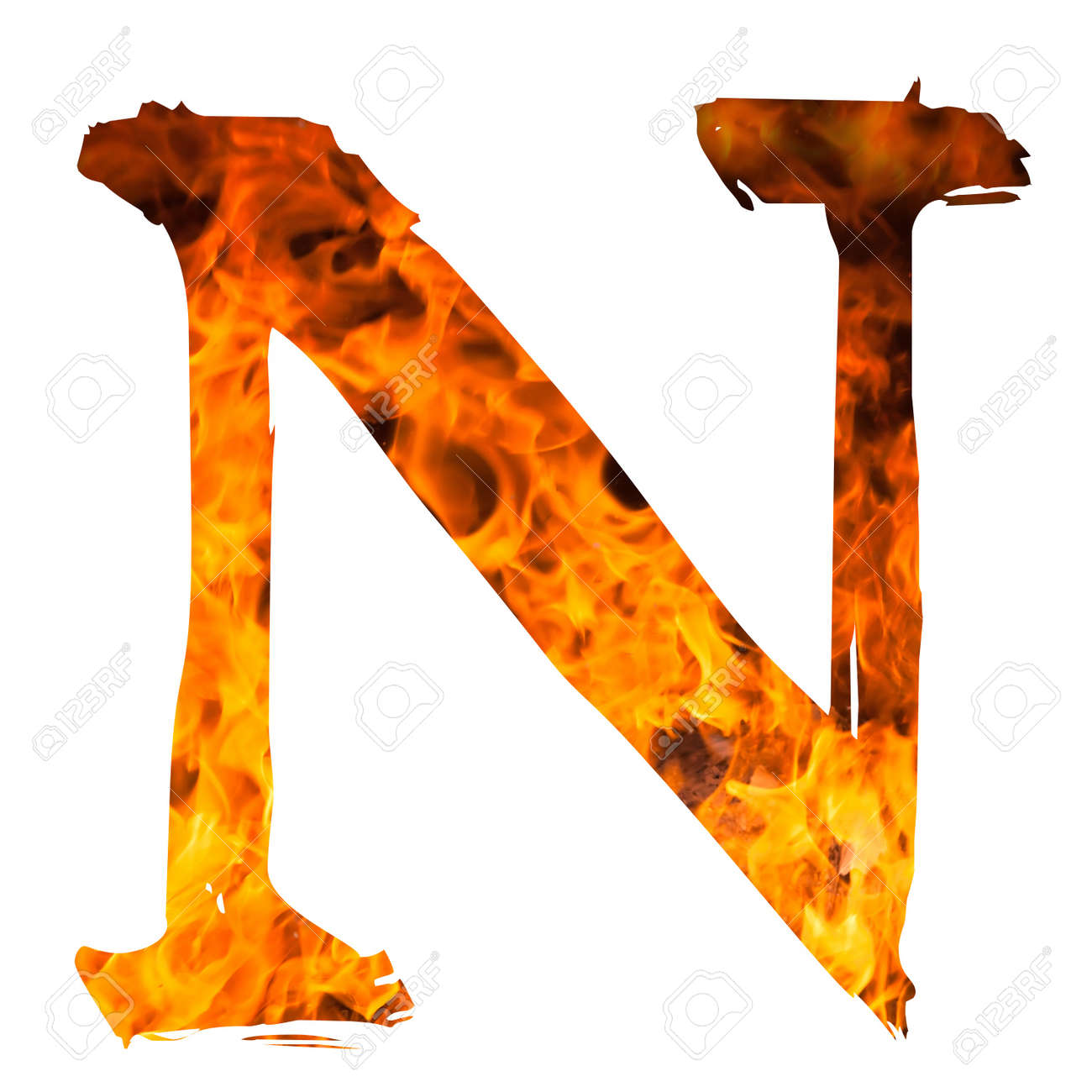stock photo the letter n caught on blazing fire