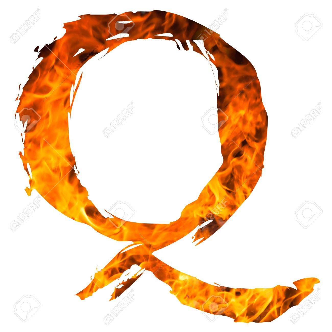 stock photo the letter q caught on blazing fire
