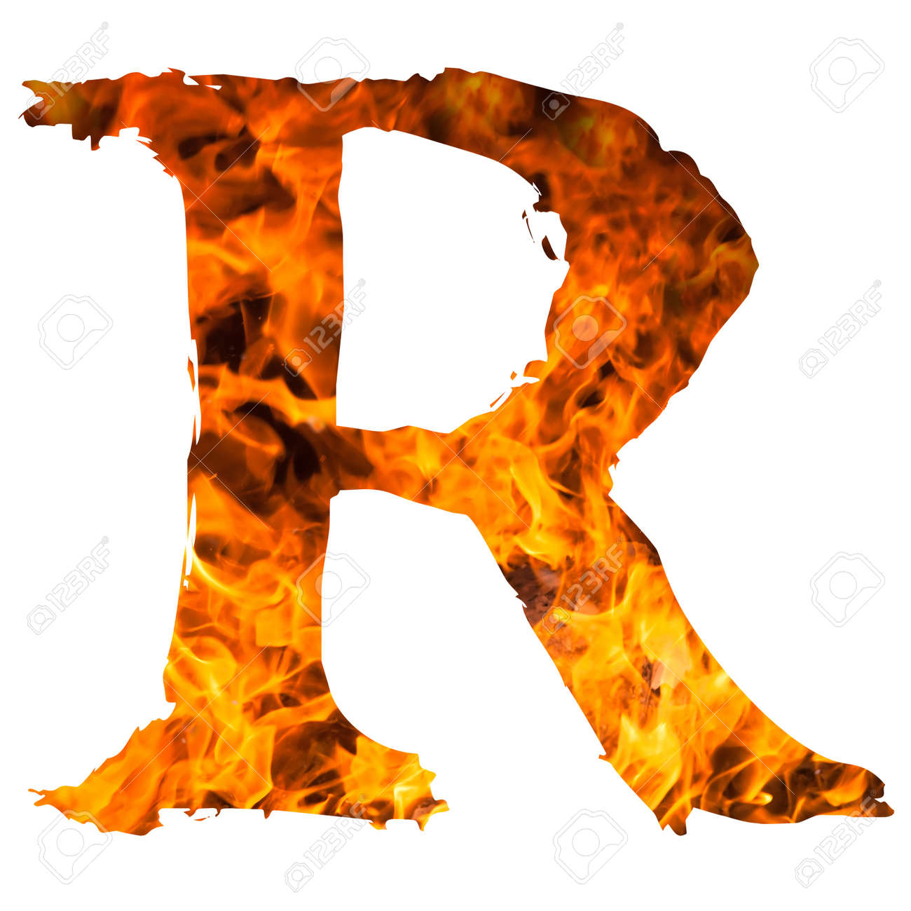 The Letter R Caught On Blazing Fire Stock Photo Picture And