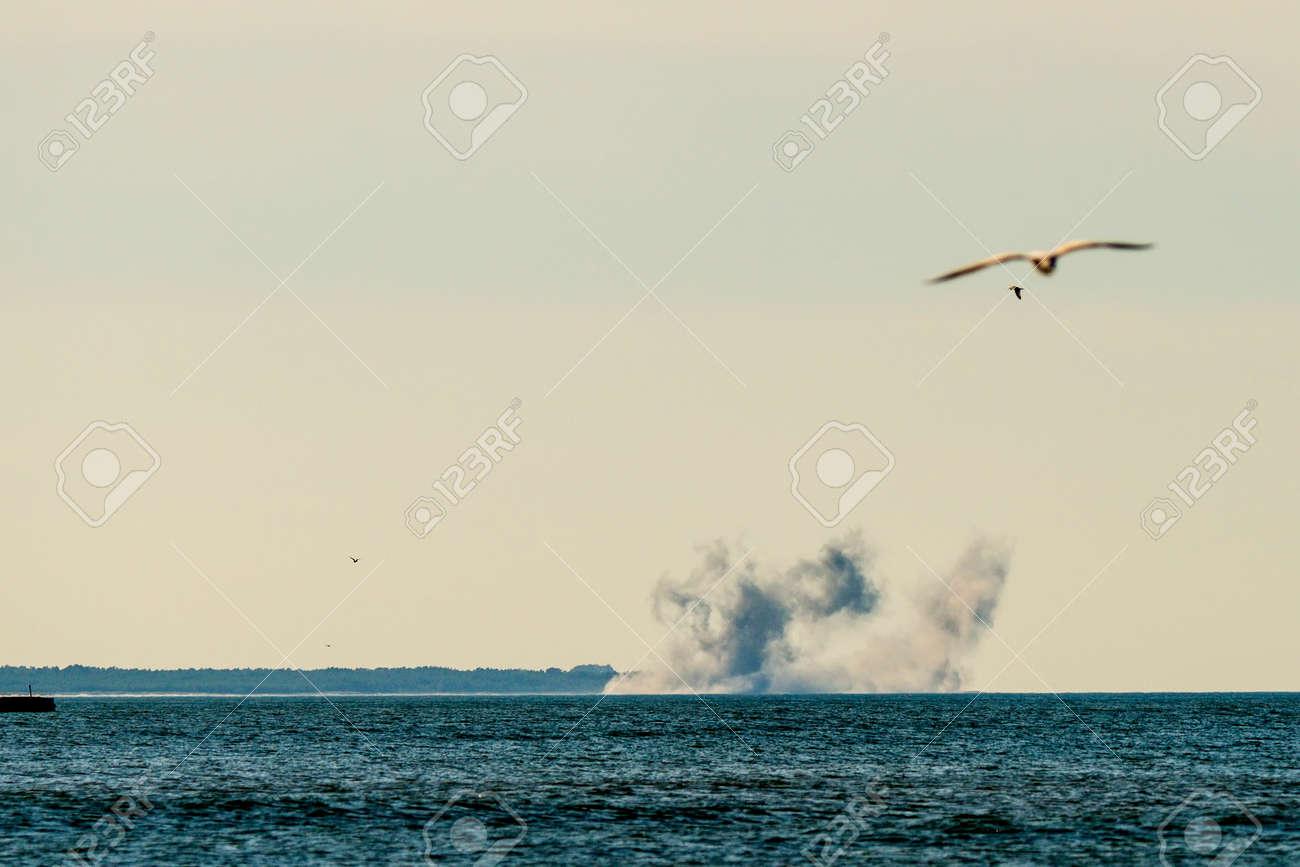 artillery exercise on the Baltic sea - 95896185