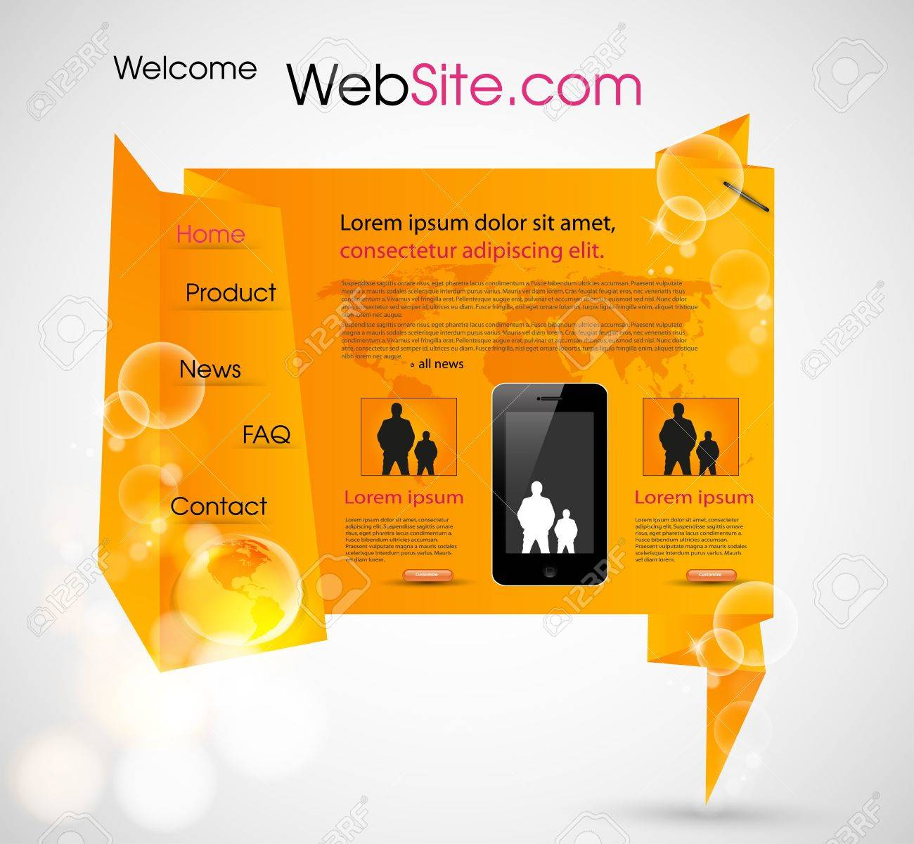 Origami Website design template, easy editable Stock Vector - 11172490