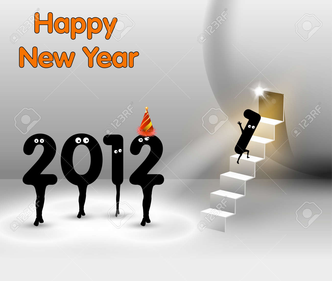 Funny New Year card , Vector Stage Spotlight design Stock Vector - 11367282